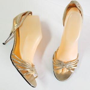 Steve Madden metallic gold Sassyy high heel sandal